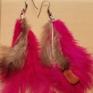 feathers Jewelry - Pink with brown accent Feather Earrings